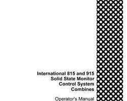 Operator's Manual for Case IH Combine model 915
