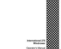 Operator's Manual for Case IH Windrower model 275