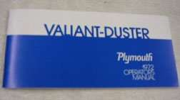 1972 Plymouth Valiant, Duster & Scamp Owner's Manual