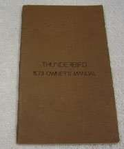 1973 Ford Thunderbird Owner's Manual