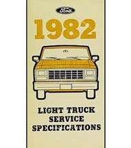 1982 Ford Bronco Specificiations Manual