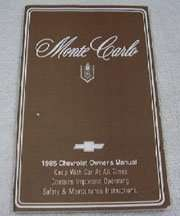 1985 Chevrolet Monte Carlo Owner's Manual