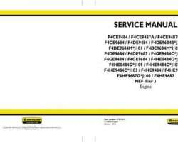 Service Manual for New Holland Engines model F4HE9687