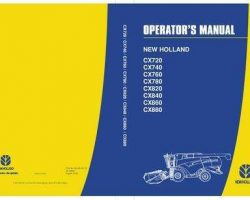Operator's Manual for New Holland Combine model CX820