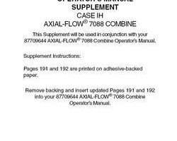 Operator's Manual for Case IH Combine model 7088