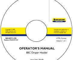 Operator's Manual on CD for Case IH Headers model 88C
