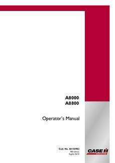 Operator's Manual for Case IH Harvester model 8800