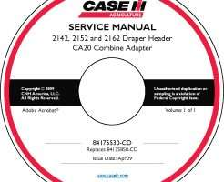 Service Manual on CD for Case IH Headers model 2142