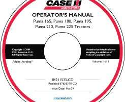 Operator's Manual on CD for Case IH Tractors model PUMA 225