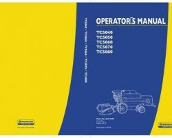 Operator's Manual for New Holland Combine model TC5050