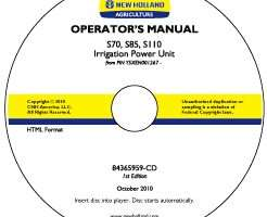 Operator's Manual on CD for New Holland Engines model S70