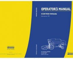 Operator's Manual for New Holland Combine model CSX7050
