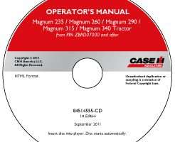 Operator's Manual on CD for Case IH Tractors model Magnum 340