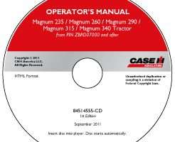 Operator's Manual on CD for Case IH Tractors model Magnum 315