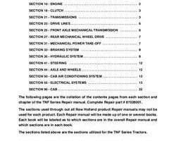 Service Manual for New Holland Tractors model TN70F COMPLETE