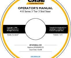 Operator's Manual on CD for Case IH Skid steers / compact track loaders model 410