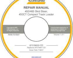 Service Manual on CD for Case IH Skid steers / compact track loaders model 465