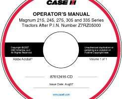 Operator's Manual on CD for Case IH Tractors model Magnum 215