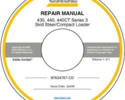 Service Manual on CD for Case IH Skid steers / compact track loaders model 440CT