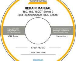 Service Manual on CD for Case IH Skid steers / compact track loaders model 450