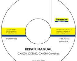 Service Manual on CD for New Holland Combine model CX8090