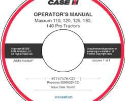 Operator's Manual on CD for Case IH Tractors model MAXXUM 110