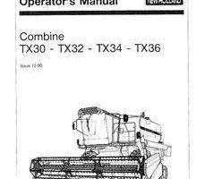 Operator's Manual for New Holland Combine model TX30