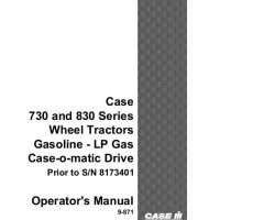 Operator's Manual for Case IH Tractors model 830