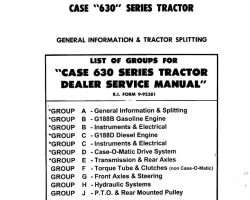 Service Manual for Case IH Tractors model 630