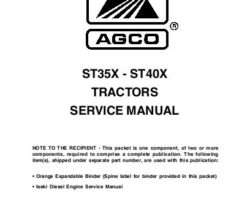 AGCO 79021727 ST35X / ST40X Compact Tractor Service Manual Packet (Does Not Include Binder or Engine Manual)