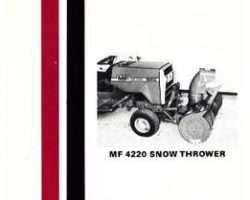 Massey Ferguson 1448449M1 Operator Manual - 4220 Snow Blower (attachment)
