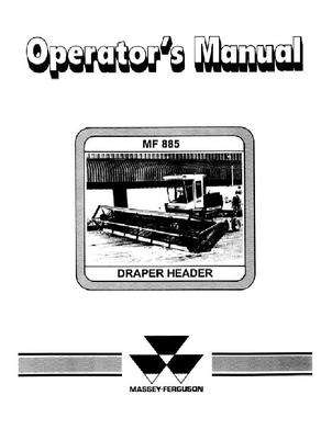 Massey Ferguson 1449165M1 Operator Manual - 885 Draper Header