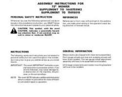 AGCO 1449527m1 Operator Manual - SM72 Mower (assembly supplement)