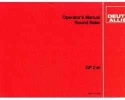 AGCO Allis 2951351 Operator Manual - GP2.80 Round Baler