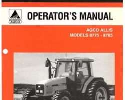 AGCO Allis 3378092M3 Operator Manual - 8775 / 8785 Tractor (Cummins, eff sn J117019)