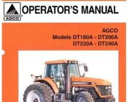AGCO 3378496M1 Operator Manual - DT180A / DT200A / DT220A / DT240A Tractor (tier 2)
