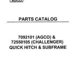 AGCO 4263152M1 Parts Book - Quick Hitch & Subframe (Agco 7092101 & Challenger 7255105)
