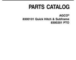 AGCO 4263955M2 Parts Book - 8300101 Quick Hitch and Subframe / 8300201 PTO