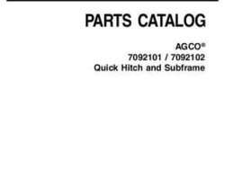 AGCO 4263959M4 Parts Book - 7092101 / 7092102 Quick Hitch and Subframe