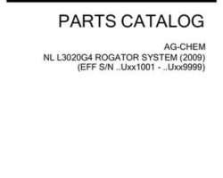 Ag-Chem 525084D1B Parts Book - L3020G4 RoGator (system, eff sn Uxxx1001, 2009)