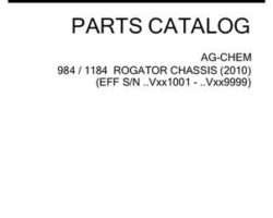 Ag-Chem 532296D1C Parts Book - 984 / 1184 RoGator (chassis, eff sn Vxxx1001, 2010)