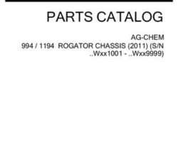 Ag-Chem 542754D1D Parts Book - 994 / 1194 RoGator (chassis, eff sn Wxxx1001, 2011)