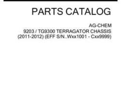 Ag-Chem 559060D1B Parts Book - 9203 / TG9300 TerraGator (chassis, eff sn Wxxx1001, 2011)
