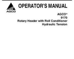 AGCO 700729324A Operator Manual - 9170 Rotary Header (roll conditioner w/ hyd. tension)
