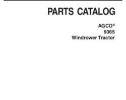 AGCO 700730431C Parts Book - 9365 Windrower Tractor