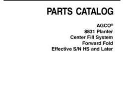 AGCO 700731031B Parts Book - 8831 Planter (CFS, forward fold, eff sn HS)