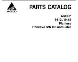 AGCO 700731064A Parts Book - 8412 / 8415 Planter (rigid narrow row wing fold, eff sn 'HS')