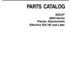 AGCO 700731116C Parts Book - 8000 Series Planter (attachments, eff sn 'HS')
