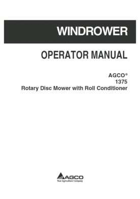 AGCO 700734220D Operator Manual - 1375 Disc Mower (rotary, roll conditioner)