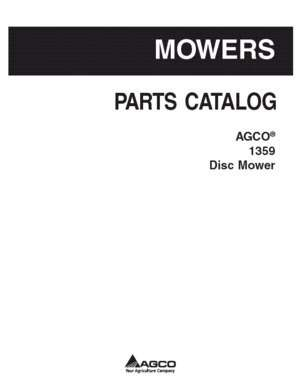 AGCO 700734765A Parts Book - 1359 Disc Mower Conditioner